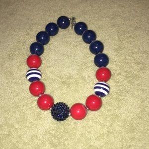 Navy and red bubble gum necklace